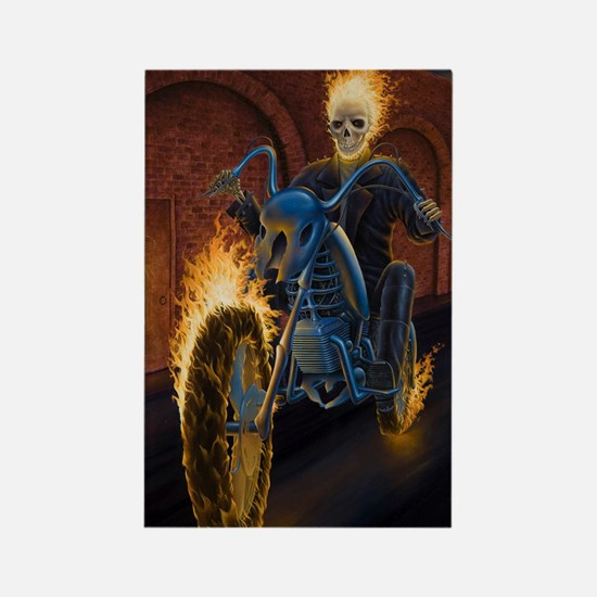 Fire Biker no text large Poster Rectangle Magnet