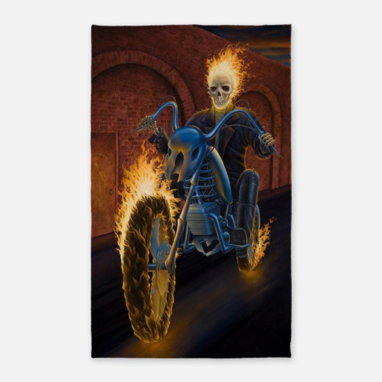 Fire Biker no text large Poster 3'x5' Area Rug