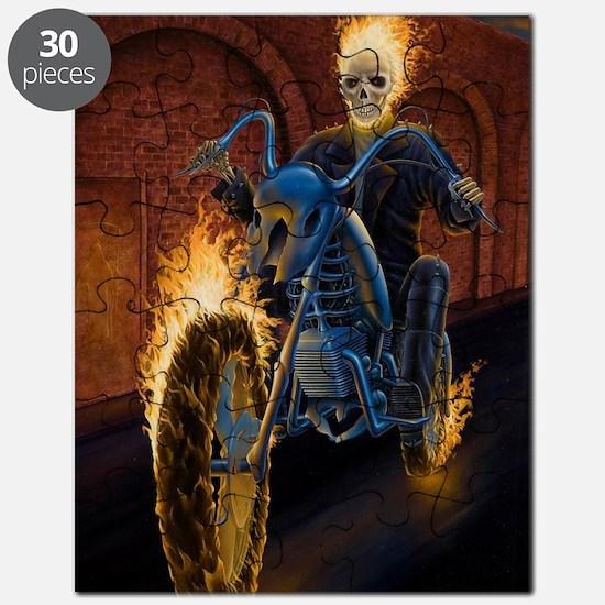 Fire Biker no text large Poster Puzzle