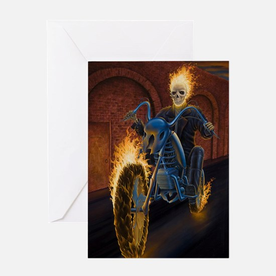 Fire Biker no text large Poster Greeting Card