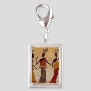 African Women Silver Portrait Charm