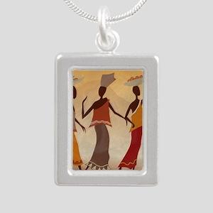 African Women Silver Portrait Necklace