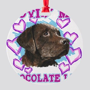 lovin_choc lab_dark Round Ornament