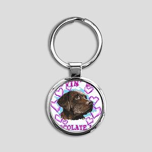 lovin_choc lab_dark Round Keychain
