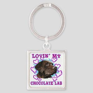 lovin_choc lab_dark Square Keychain