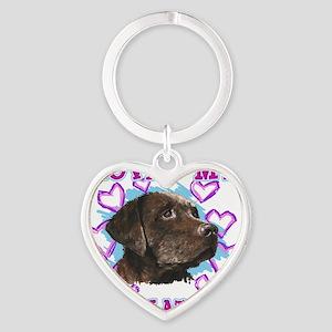 lovin_choc lab_dark Heart Keychain