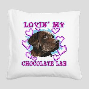 lovin_choc lab_dark Square Canvas Pillow