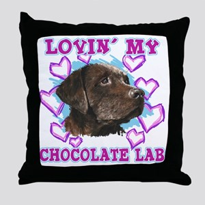lovin_choc lab_dark Throw Pillow