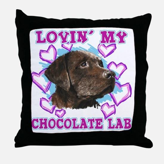 lovin_choc lab_dark Throw Pillow