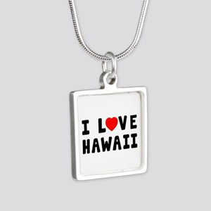 I Love Hawaii Silver Square Necklace