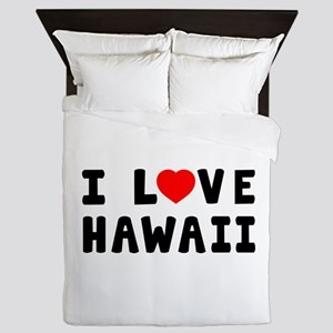 I Love Hawaii Queen Duvet