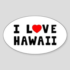 I Love Hawaii Sticker (Oval)