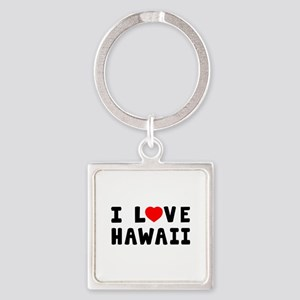 I Love Hawaii Square Keychain