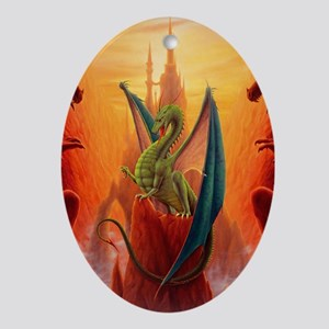 Dragon and Sentinels Oval Ornament