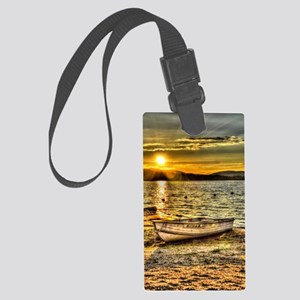Sun Set over the lake Large Luggage Tag