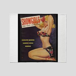 Showgirls Retro Pin Up Burlesque Dancer Throw Blan