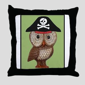 Pirate Owl Whimsical Kitsch Kawaii Throw Pillow