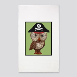 Pirate Owl Whimsical Kitsch Kawaii 3'x5' Area Rug