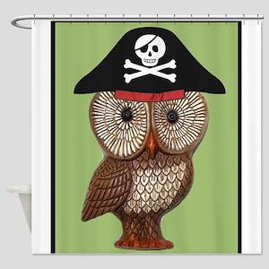 Pirate Owl Whimsical Kitsch Kawaii Shower Curtain