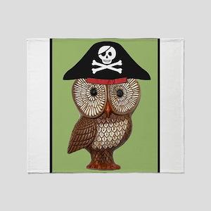 Pirate Owl Whimsical Kitsch Kawaii Throw Blanket
