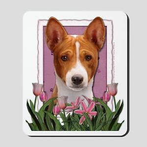 Pink_Tulips_Basenji Mousepad
