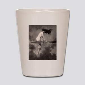 Victorian Risque Witch on Broomstick Shot Glass