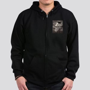 Victorian Risque Witch on Broomstick Zip Hoodie