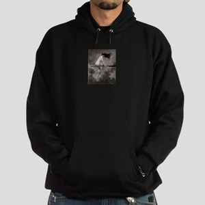 Victorian Risque Witch on Broomstick Hoodie
