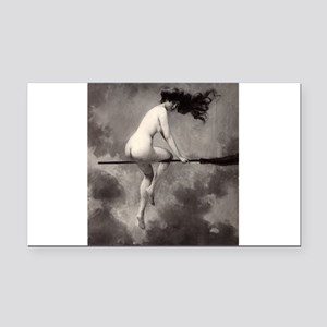 Victorian Risque Witch on Broomstick Rectangle Car