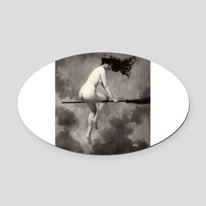 Victorian Risque Witch on Broomstick Oval Car Magn