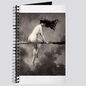 Victorian Risque Witch on Broomstick Journal