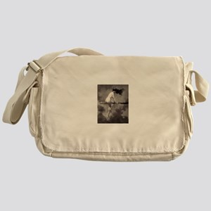 Victorian Risque Witch on Broomstick Messenger Bag
