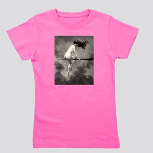 Victorian Risque Witch on Broomstick Girl's Tee