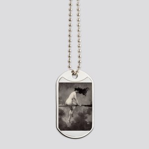 Victorian Risque Witch on Broomstick Dog Tags