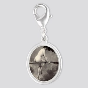 Victorian Risque Witch on Broomstick Charms