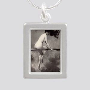 Victorian Risque Witch on Broomstick Necklaces
