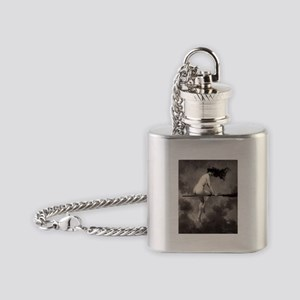 Victorian Risque Witch on Broomstick Flask Necklac