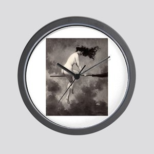 Victorian Risque Witch on Broomstick Wall Clock