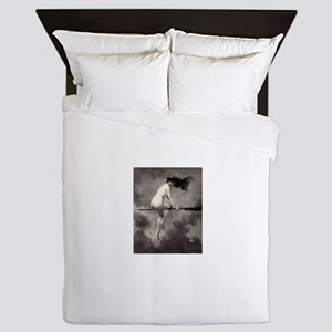 Victorian Risque Witch on Broomstick Queen Duvet