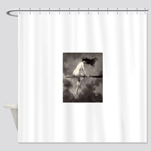 Victorian Risque Witch on Broomstick Shower Curtai