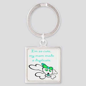 duplicate_green Square Keychain