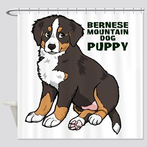 Sitting Bernese Mountain Dog Puppy Shower Curtain