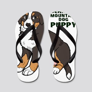 Sitting Bernese Mountain Dog Puppy Flip Flops