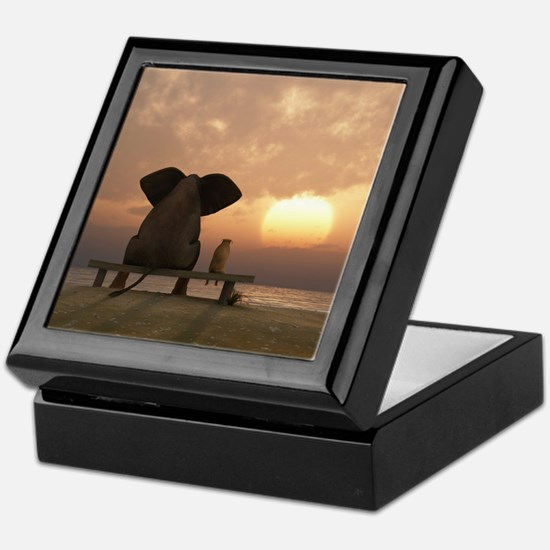 Elephant and Dog Friends Keepsake Box