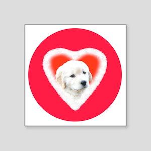 "Golden Retriever Valentine  Square Sticker 3"" x 3"""
