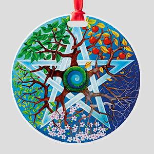2-20061229-pentacle-seasons Round Ornament
