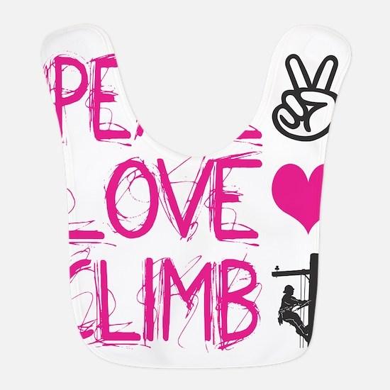 peace love climb pink Bib