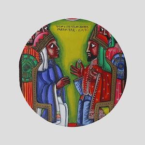 "Ethiopian orthodox Queen of Saba Icon 3.5"" Button"