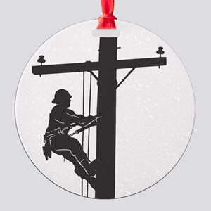lineman profile on pole Round Ornament