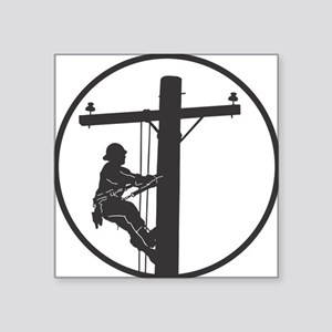 "lineman profile on pole Square Sticker 3"" x 3"""